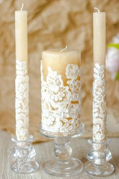 Rustic Unity Candle Set for Wedding, Rustic Vintage Wedding Decor, Unity Ceremon… - Kerzen ideen Lace Candles, Wedding Unity Candles, Unity Ceremony, Vintage Candles, Hanging Candles, Wedding Candelabra, Church Candles, White Candles, Diy Wedding