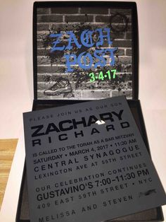 Such a hip invite for any boys Bar Mitzvah. The pablo font graffiti wall along with this thick acrylic invite is unbelievable. Customizable for any theme but so cool as is! Box Invitations, Acrylic Invitations, Bar Mitzvah Invitations, Sweet 16 Invitations, Custom Invitations, Invitation Cards, Invite, Bar Mitzvah Party, Bat Mitzvah