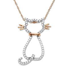 XPY 14k Rose Gold Diamond Cat Pendant