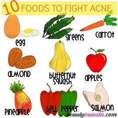 Top 10 Foods Good for Acne Prone Skin - beautymunsta - free natural beauty hacks and more! - Prevent and heal your acne by adding these foods good for acne prone skin to your diet. Eating the - Foods Good For Acne, Food For Acne, Food Good For Skin, Food That Causes Acne, Foods To Clear Acne, Homemade Skin Care, Diy Skin Care, Skin Care Tips, Skin Tips