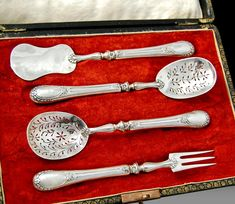 Boxed Antique French Sterling Silver 4pc Hors d'oeuvre Set - Edouard Ernie, ca.1890