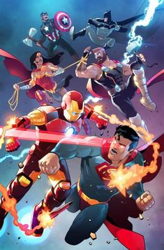 Marvel Vs, Marvel Comics Art, All Marvel Heroes, Marvel And Dc Superheroes, Dc Comics Heroes, The Avengers, Avengers Vs Justice League, Mundo Superman, Superman Art