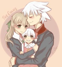 The Evans: Soul, Maka, and their baby girl.