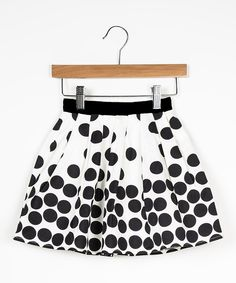 Look at this DownEast Basics White & Black Polka Dot Sugar Plum Skirt - Girls on #zulily today!