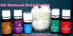 All Natural Pain Cream for pain, inflammation, bruising, joints, back pain, and arthritis made from Essential Oils