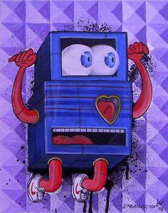 "Saatchi Art Artist Simon Darlington; Painting, ""Heart Jump Bot"" #art"