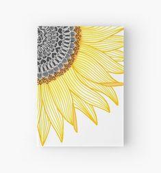 'Golden Mandala Sunflower' Hardcover Journal by paviash - Bright Mandala Sunflower Journal Doodle Art Drawing, Zentangle Drawings, Cool Art Drawings, Art Drawings Sketches, Drawing Ideas, Sharpie Drawings, Sharpie Doodles, Easy Flower Drawings, Doodling Art