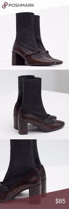 Zara Maryjane Sock Boots Right off the runway. Super stylish and sophisticated. Brown snakeskin maryjane style combined with flexible, stretch sock like material. Genuine leather.  Slip-on. Buckle detail.  Heel height of 2.5.  UPPER 100% leather LINING 50% polyurethane, 48% cotton, 2% elastane SOLE 100% vulcanized rubber Size Euro 37 = US 6.5. Please refer to the Zara size chart.  No box. Zara Shoes Ankle Boots & Booties