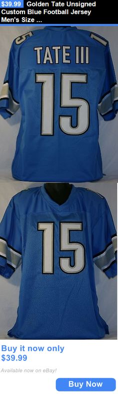 Sports Memorabilia: Golden Tate Unsigned Custom Blue Football Jersey Mens Size 2Xl BUY IT NOW ONLY: $39.99