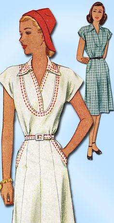 1940s Vintage McCalls Sewing Pattern 6409 Misses WWII Street Dress Size 18 36B…