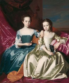 """John Singleton Copley (1738–1815), """"Mary and Elizabeth Royall,"""" ca. 1758. Oil on canvas, 57 3/8 x 48 1/8 in. Color photograph collected in the 1960s. The Frick Collection / Frick Art Reference Library Photoarchive. #fricklibrary"""