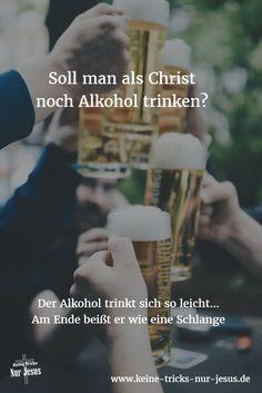 """Soll man kein Glas Wein oder kein Glas Bier mehr trinken? Darum geht es nicht. Hören Sie auf das, was die Bibel sagt. Denn das kommt von Gott. Dort heißt es: """"Alles ist erlaubt — aber nicht alles nützt. Alles ist erlaubt"""" — aber nicht alles baut auf."""" ((1 Korinther Kapitel 10, Vers 23) Merken Sie die herrliche Freiheit, die Gott uns schenkt? Wir können entscheiden. Entscheiden wir uns weise."""