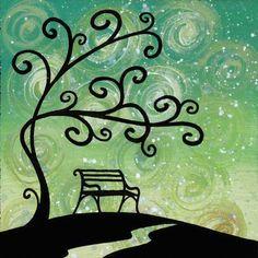 """quadro fiabesco """"alberelli""""   cm 15x15   dipinto a mano da Max e Elena Panizza   www.panizza.info"""