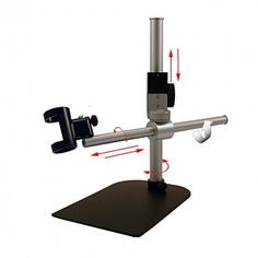 Table top boom-arm stand for easier viewing over larger areas complete with block assembly with fine adjustment feature.