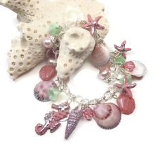Salmon Pink Shell Bracelet- Starfish & Seahorse Charm Bracelet- Florida Shell Bracelet- polymer clay jewelry- Beachy - pinned by pin4etsy.com