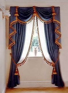 Napoleon inspired drapery treatment of royal blue in stately proportions and fixed folds. This design can be varied in several ways. The width here is ideal for a two swag treatment of this height. Blue Curtains, Curtains With Blinds, Sheer Curtains, Window Curtains, Swags And Tails, Drapery Designs, Pelmets, Custom Window Treatments, Passementerie