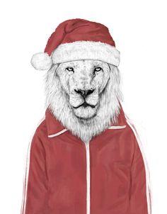Santa lion Art Print by Balazs Solti