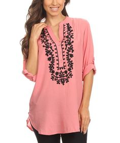 Another great find on #zulily! Old Rose Embroidered Roll-Tab Sleeve Tunic #zulilyfinds