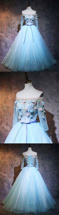 Blue organza applique long prom dress, blue sweet 16 dress, blue evening dress