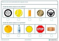 Ficha de diferenciar la esfera y el prisma para primaria Kindergarten Math, Tech Logos, Education, School, Spanish, Geometric Fashion, Kids Math, Spanish Language, Onderwijs