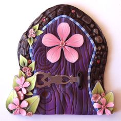 Pink and Purple Fairy Door Pixie Portal by Claybykim on Etsy