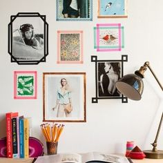 On this wall, washi tape has been used in lieu of frames--an inexpensive and fun idea! (via Design Sponge)