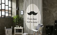 Mustache Black Out Wide Fabric for Curtains one by cottonholic