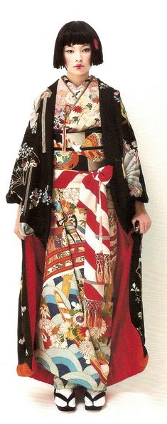 multiple pattern colorful kimono