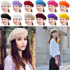 7583a2e144a Sweet Womens Solid Wool Beret French Artist Warm Beanie Hats Winter Ski Cap  Gift  fashion