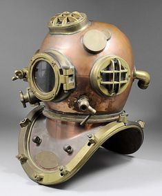 Early 20th C brass and copper diving helmet