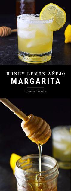 Honey Lemon Añejo Margarita Sweet and smokey margarita made with real lemon, honey, grand Marnier, and Añejo tequila.