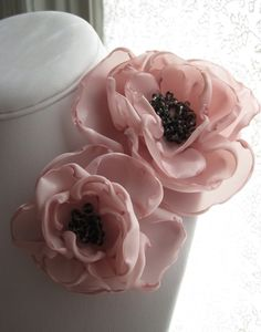 fabric flower brooch corsage pin in parfait pink and gray froth