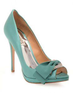 BADGLEY MISCHKA | Gylda Heels with Bow in Jade - Women - Style36  #style36 #xmasshopping #wishlist