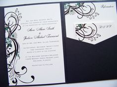 5f1e057e3d41 Pocketfold Wedding Invitations - Botanical Swirls Pocketfold Invitation  Suite