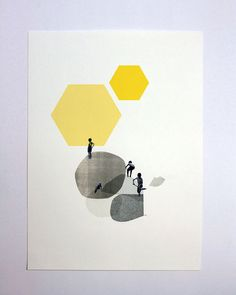 Cloudscapes 1 Geometric and Collage Art Print by escueladecebras, $35.00