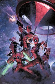 Deadpool La Mole Comic Con variant by Clayton Crain (Guardians of the Galaxy homage) Wade Wilson, Marvel Dc, Marvel Comics, Cosmic Comics, Lady Deadpool, Deadpool Stuff, Galaxy Movie, Family Poster, X Force