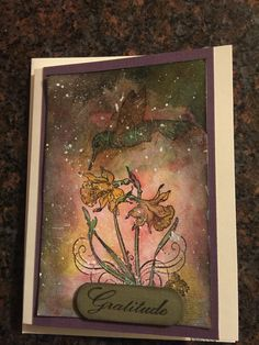 Handmade thank you card. Hummingbird and flowers