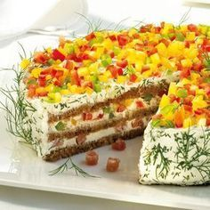 Herzhafte Schwarzbrot-Frischkäse-Torte Rezepte   Weight Watchers