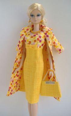 New-Handmade-Dress-and-Coat-Set-for-Silkstone-Fashion-Model-Barbie-slim-body