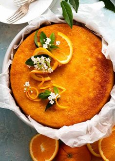 Overhead photo of Orange Cake - flourless, gluten free Flourless Orange Cake, Flourless Cake, Orange Recipes, Almond Recipes, Sweet Recipes, Sin Gluten, Gluten Free, Whole Orange Cake, A Food