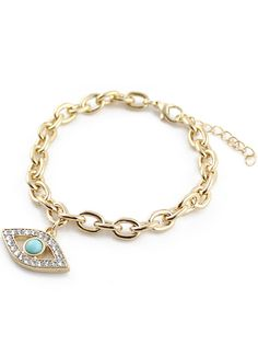 Gold Gemstone Eye Chain Link Bracelet US$6.69