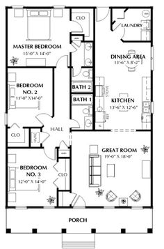 Free One Bedroom House Plans Inspirational 3 Bedrm 1587 Sq Ft southern House Plan 123 1020 One Bedroom House Plans, Small House Floor Plans, House Plans One Story, Floor Plan 4 Bedroom, Ranch House Plans, Story House, Dream House Plans, Modern House Plans, Small House Plans Under 1000 Sq Ft