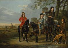 Albert Cuyp - Ruiterportret van Cornelis en Michiel Pompe van Meerdervoort met hun tutor en koetsier