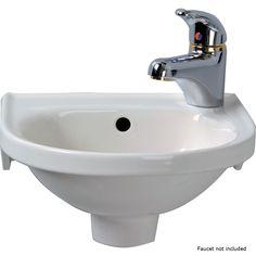 Wall Mounted Bathroom Sinks, Small Bathroom, Bathroom Ideas, Downstairs Bathroom, Bathroom Renovations, Tiny Half Bath, Ceramic Manufacturer, Floor Decal, White Sink