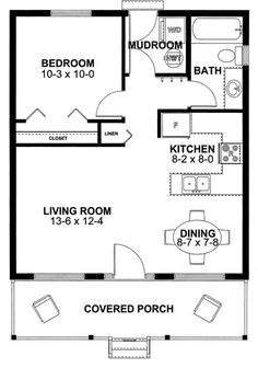 Cabin Style House Plan - 1 Beds 1 Baths 598 Sq/Ft Plan #126-149 Main Floor Plan - Houseplans.com