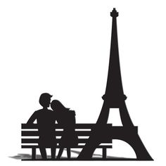 Eiffel Tower and Bench Silhouette