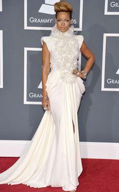 Rihanna rocking a white gown.