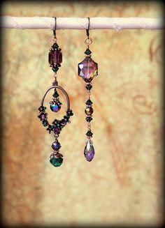 Flickering Iridescent Purple Hexagonal Dangle Earrings  by VAIMU, $45.00