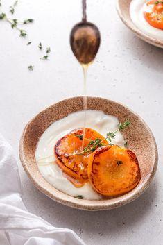 Honey Thyme Roasted Peaches + Yogurt   The Nourished Mind