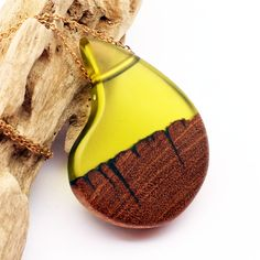 Upcycled Wood & Olive Green Resin Pendant - pinned by pin4etsy.com